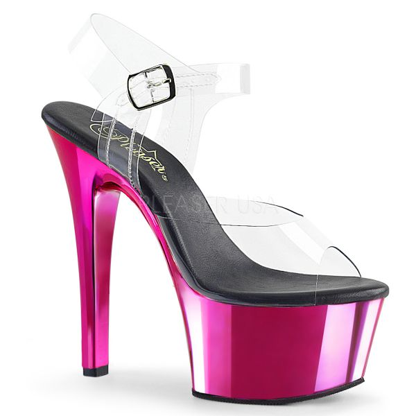Durchsichtige Riemchen Sandalette mit hot pink Chrom Plateau ASPIRE-608